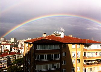 rainbow istanbul rain autumn nature clouds