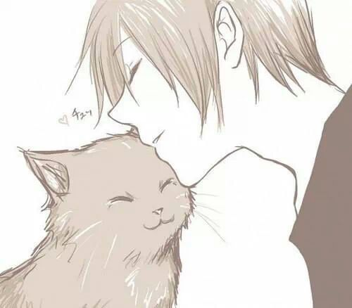Anime Boy Cute Cat Otaku