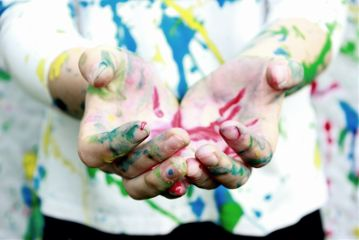 people colorful color splash hands