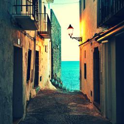 mediterranean old village travel blue