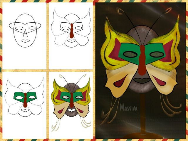 how to draw a mask step by step