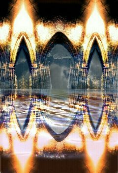 abstract collage colorful water sky architecture
