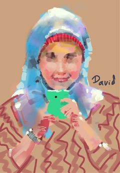 drawing painting art girl cute portrait